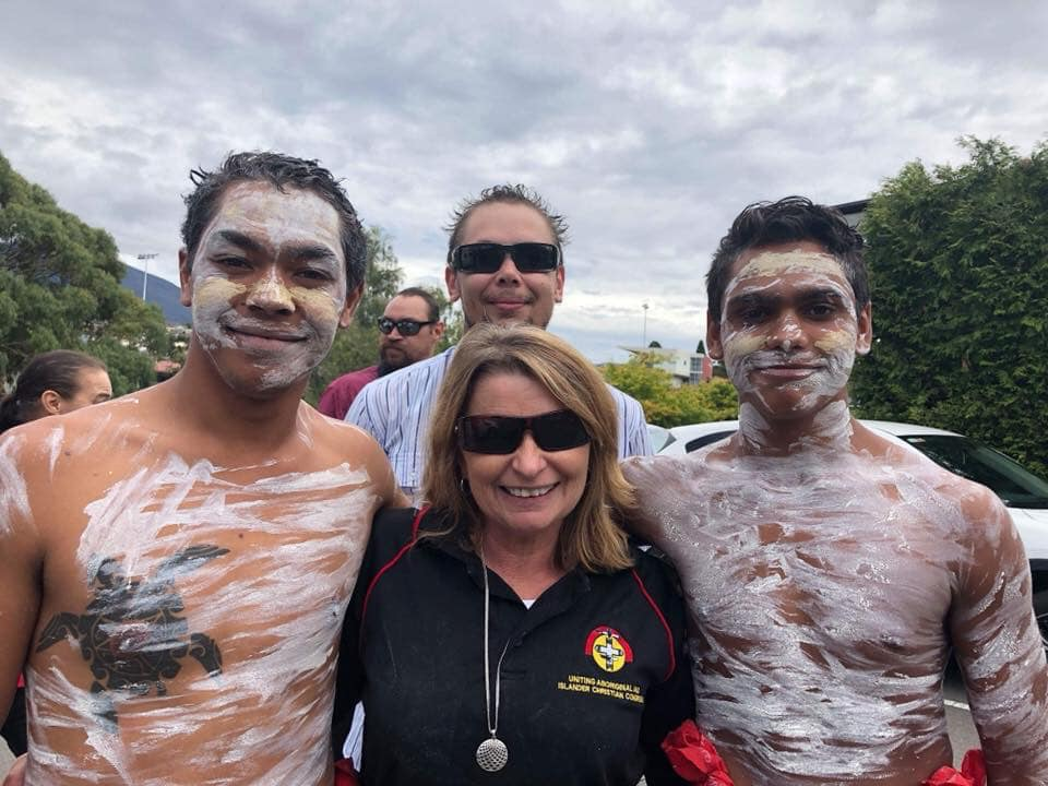 Alison Overeem with some of the young men she cared for as manager of an Aboriginal Children's Centre