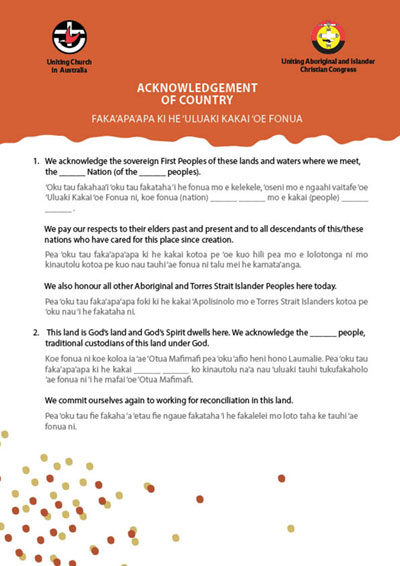 Acknowledgement of Country translations, Uniting Church Australia